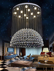 LED Pendant Lights Modern Crystal Chandeliers Clear K9 Crystal Silver Canopy Ceiling Lamps Fixtures H120CM
