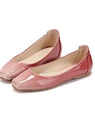 Flacher Absatz - Satin - FRAUEN Quadratische Zehe - Ballerinas ( Braun/Rosa )