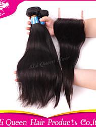 Ali Queen Hair Products 3Pcs 6A Peruvian Virgin Hair Straight Wifh 1Pcs 4*4 Swiss Lace Closures 100% human hair