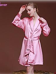 Costumes / Nuisette & Culottes / Robe de chambre / Satin & Soie / Ultra Sexy Vêtement de nuit Femme Couleur PleinePolyester / Soie /