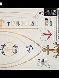 Pulsera y collar largo 1pc tatuaje impermeable etiqueta 24x21cm
