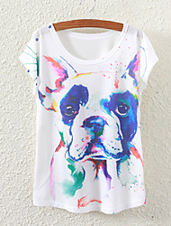 Women's Short Sleeve Dog Graphic Printed T Shirt