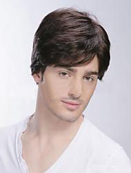 Men's Short Straight Human Virgin Remy Hand Tied -Top Capless Hair Wigs