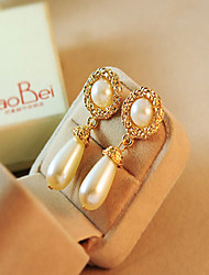 Women's Drop Earrings European Imitation Pearl Rhinestone Alloy Drop Jewelry For