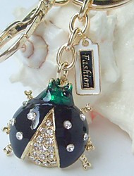 Black Ladybug Key chain With  Clear Rhinestone crystals