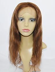 """mellanbrun markerad med mörkblond främre spets peruk 100% äkta hår peruk rakt 14 """"-24"""""""
