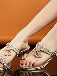 Women's Shoes Chunky Heel Toe Ring Slippers Dress Silver/Gold