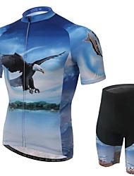Maillot et Cuissard de Cyclisme Homme Manches courtes VéloRespirable / Perméabilité à l'humidité / Bandes Réfléchissantes / Pocket Retour