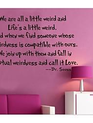 Wir sind alle ein wenig seltsam Dekoration Zitat Wandtattoos zooyoo8076 Wanddekor abnehmbare Vinyl-Wandaufkleber