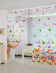 200cm*100cm Butterfly Print Sheer Window Panel Curtains Room Divider New for Living Room Bedroom