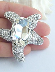 Women Accessories Silver-tone Clear Rhinestone Crystal Brooch Bouquet Art Deco Starfish Brooch Wedding Jewelry