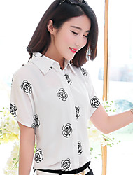 Women's Wild Embroidery Print Plus Size Short Sleeve Shirt(Chiffon)