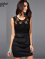 AOLD®Women's Vintage/Sexy/Bodycon/Casual/Lace Stretchy Sleeveless Above Knee Slim Dress (Lace/Mesh/Polyester)