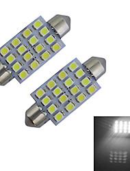 1.5W Festoon Lampe de Décoration 16 SMD 3528 80-100lm lm Blanc Froid DC 12 V 2 pièces