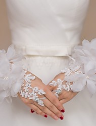 Lace/Tulle Wrist Length Wedding/Party Glove Flowers Rhinestones