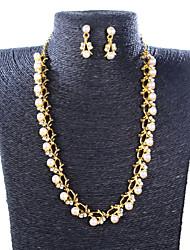 XIUNA Women's European and American Big Exaggeration Temperament Collarbone Chain Necklace Set