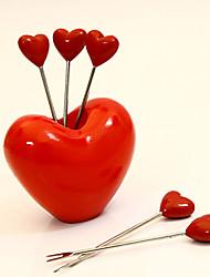 Non-toxic Love Heart Metal Plastic Fashionable Snack Desert Picks Fruit Forks