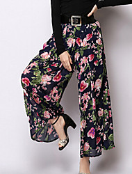TS Women's Elegant Inelastic Print High Waist Simplicity Thin Wide Leg Pants (Chiffon/Rayon)