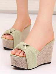 Chaussons ( Simili Cuir , Vert/Amande ) Hauteur de semelle compensée - 6-9cm pour Chaussures femme