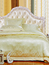 4-Piece The high-end Floral Jacquard Cotton Queen Duvet Cover Sets Pure And Fresh