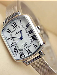 reloj de pulsera de cuarzo de banda de aleación de plata de la mujer