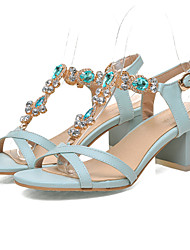 DamenKleid-Kunstleder-Blockabsatz-Fersenriemen / Vorne offener Schuh-Blau / Rosa / Beige