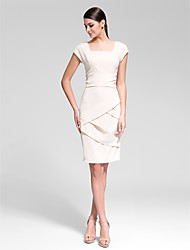 Cocktail Party Dress - Champagne Sheath/Column Square Knee-length Polyester