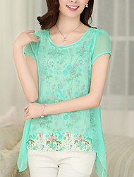 Women's Casual/Daily Simple Summer Blouse,Print Round Neck Short Sleeve Blue / Pink / Green Thin