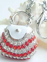 Pretty Lady Handbag Key Chain With Clear & Red Rhinestone crystals