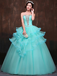 Formal Evening Dress Ball Gown Strapless Floor-length Satin / Tulle / Polyester with Beading / Crystal Detailing / Ruffles / Side Draping