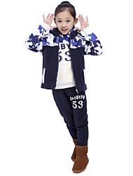 Ensemble de Vêtements Fille de Imprimé Mélange de Coton Hiver Bleu / Orange