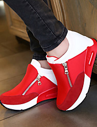 Women's Shoes Fabric Wedge Heel Comfort Round Toe Zipper Fashion Sneakers Outdoor/Casual Black/Red