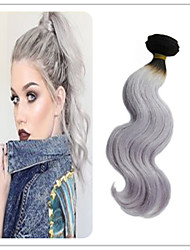 3Pcs/Lot Brazilian Virgin Hair Body Wave 1b Platinum Grey Hair Weave Ombre 1B Silver Grey Hair Extensions Two Tone Color