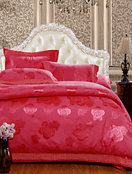 4-Piece The high-end Floral Jacquard Cotton Queen Duvet Cover Sets Rose Wave Red Brick