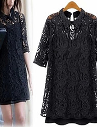 HHH Women's Beach/Casual/Lace/Cute/Party Tailored Collar ½ Length Sleeve Dresses (Lace/Polyester)