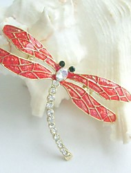 Pretty Dragonfly Brooch Pin w Clear Rhinestone Crystals