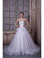 Ball Gown Wedding Dress Chapel Train Strapless Tulle