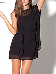 Women's Sexy Single Batwing Sleeve Micro-elastic Above Knee Dress Without the Inner Vest (Chiffon)