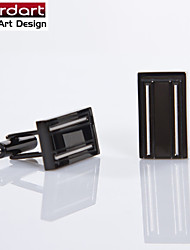IP Black 316L Stainless Steel Cuff Link with Engraving Lines for Men