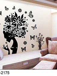 Classical Black Flower Fairy Wall Stickers For Girls Rooms Zooyoo2175 Parede Removable Pvc Wall Decal