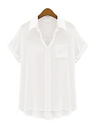 Women's Casual Work Plus Sizes Inelastic Short Sleeve Regular Shirt (Chiffon)