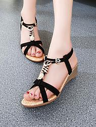 Women's Shoes Black/Almond Flat Heel Sandals (PU)