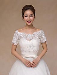 Wedding Wraps Vests Short Sleeve Lace/Satin Elegant Bride Wraps White