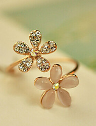 KULALA  Women's  Korean Opal Diamond Flower Daisy Adjustable Female Full Diamond Ring Opening