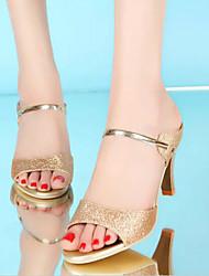 Zapatos que no cubren el talón ( Cuero Patentado , Negro/Dorado/Morado )- 3-6cm - Tacón bajo para Zapatos de mujer
