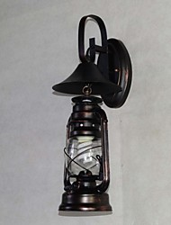 Vintage Black Metal Lantern Wall Lamp with One Light