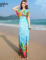 AOLD® Women's Sexy/Beach/Print/Maxi/Plus Sizes Stretchy Sleeveless Maxi beach Dress (Vicose/Polyester/Lycra)