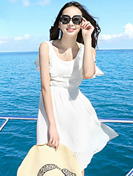 Women's White Dress , Beach Sleeveless