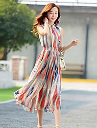Vestidos ( Gasa )- Casual Cuello alto Sin Mangas para Mujer