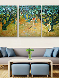 E-HOME® Dancing Woman In The Woods Clock in Canvas 3pcs